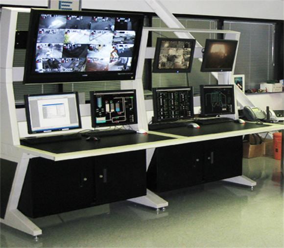 AgileVIEW Control Room Consoles w/large screen