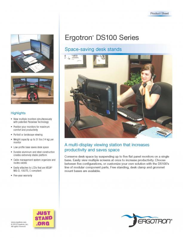 Ergotron DS100 Product Sheet